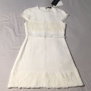 🌻NWT Zara Ivory White Linen & Lace Dress, Small
